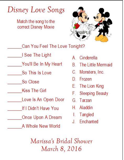 free printable disney bridal shower games 24 personalized disney love songs bridal shower game