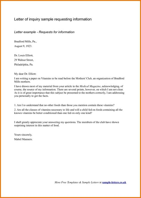 Business Letter Of Request Format business inquiry letter sle for requesting information