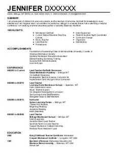 Early Childhood Education Resume Sles by 130 Special Education Resume Exles In Montana Livecareer