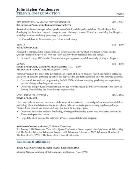 tv producer page2 media communications resume sles