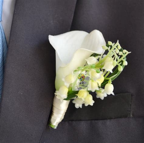 Handmade Corsage And Boutonniere - 4 pcs lot diy calla lilies corsage white wedding style