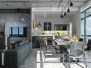 Apartment Kitchen Design Ideas Pictures Industrial Loft Apartment Design Ideas With Elegant Dark