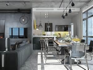 Industrial Loft Apartment Design Ideas With Elegant Dark Shades   RooHome   Designs