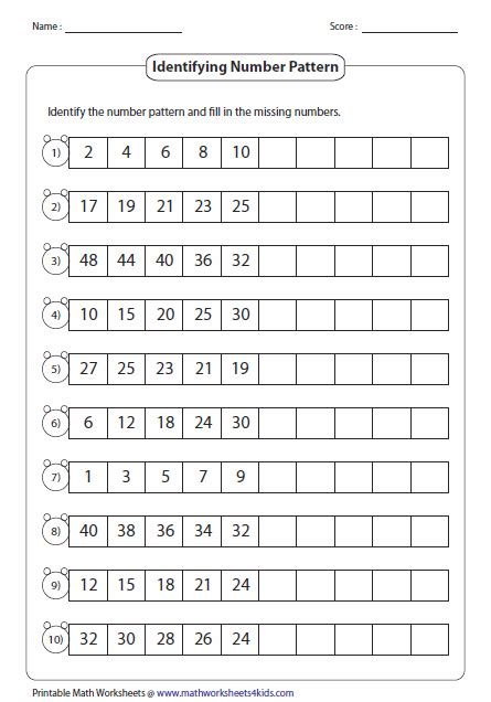 pattern games third grade pattern worksheets