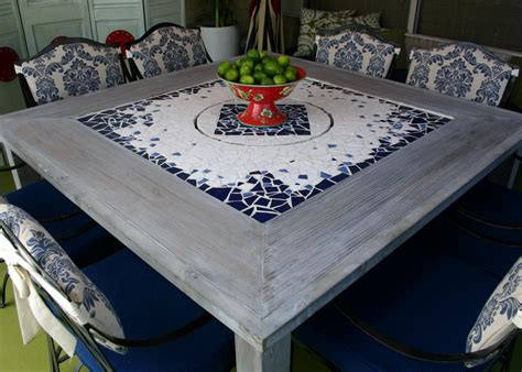 Design For Mosaic Patio Table Ideas Mosaic Dining Table With Built In Lazy Susan Hgtv