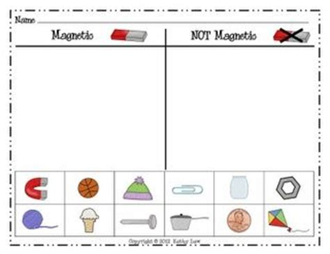 kindergarten activities magnets first grade a la carte printable magnet experiment