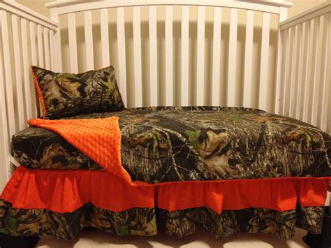 mossy oak bed set camo 4 piece set made with mossy oak fabric and orange minky