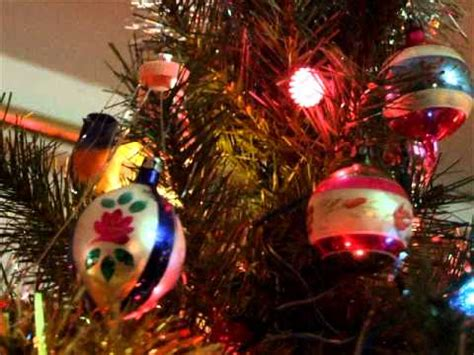 old fashioned christmas ornaments and flashing spinning