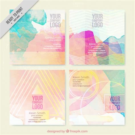 free watercolor business card template watercolor splashes with stripes business card vector