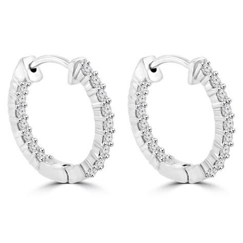 1 90 ct cut hoop huggie earrings in