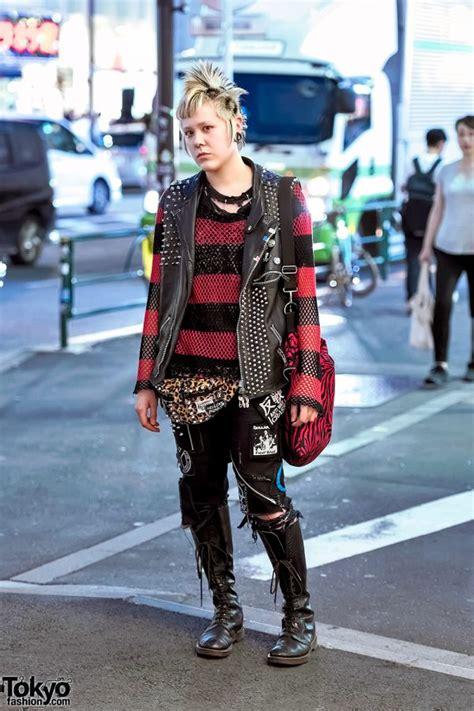 harajuku punk  discocks studded leather vest patched