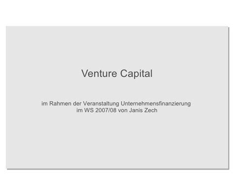 Introduction Letter To Venture Capitalist Venture Capital An Introduction