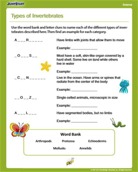 Types Of Scientists Worksheet by Types Of Invertebrates Free Science Worksheet For 4th Grade Jumpstart