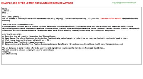 Automotive Service Advisor Job Offer Letters