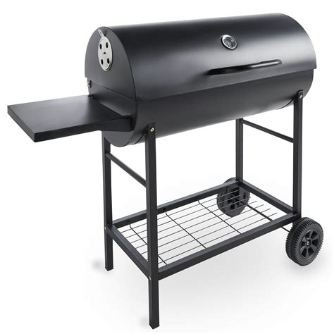 Vonhaus 105cm Charcoal Barrel Bbq With Side Table Garden Patio Table Grill