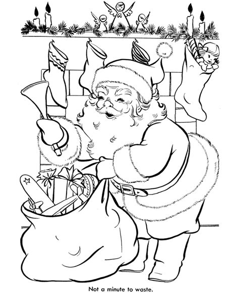 vintage santa coloring page bluebonkers santa claus coloring pages 15