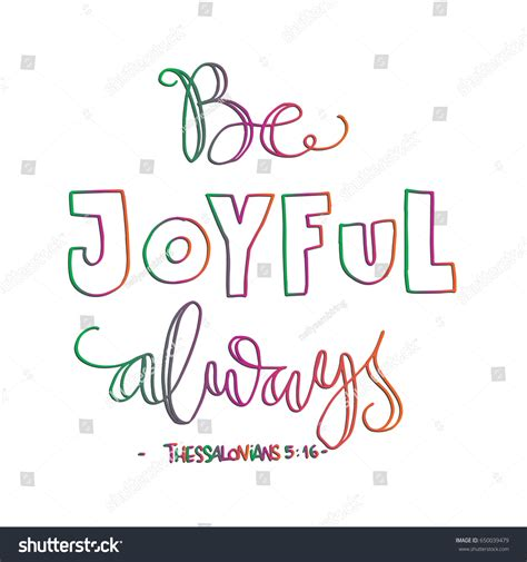 Be Joyful be joyful bible verse lettered stock vector 650039479