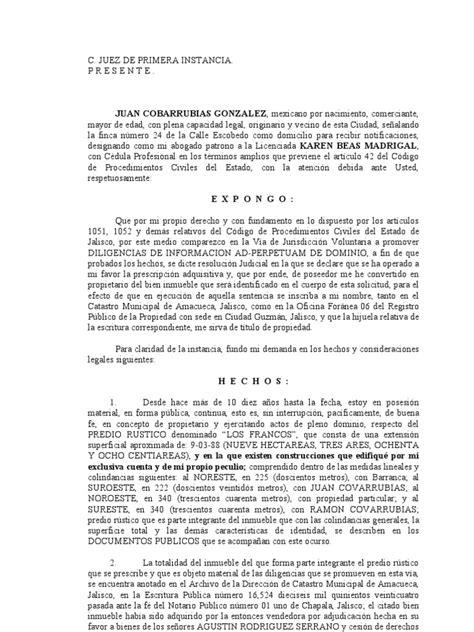 formato de jurisdiccion voluntaria para acreditar dilige cias de informaci 211 n testimonial ad perpetuam de dominio