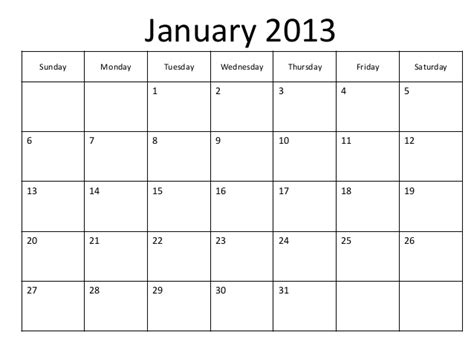 January 2013 Calendar Printable Blank Pdf January 2013 Calendar