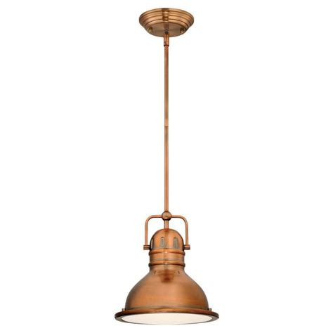 Copper Pendant Light Westinghouse Boswell 1 Light Washed Copper Led Mini Pendant 63084b The Home Depot