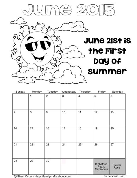 2015 calendar coloring page printable june 2015 calendars holiday favorites