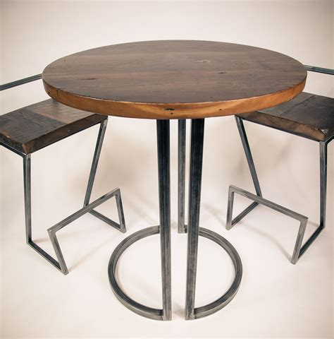 Metal Bar Table And Stools by Reclaimed Wood And Metal Bar Table And Stools Made In