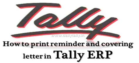 Confirmation Letter In Tally how to print reminder and covering letter in tally erp