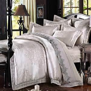 King Size Duvet Cover Big Grey Satin Silk Jacquard Bedding Set King Size 4pcs