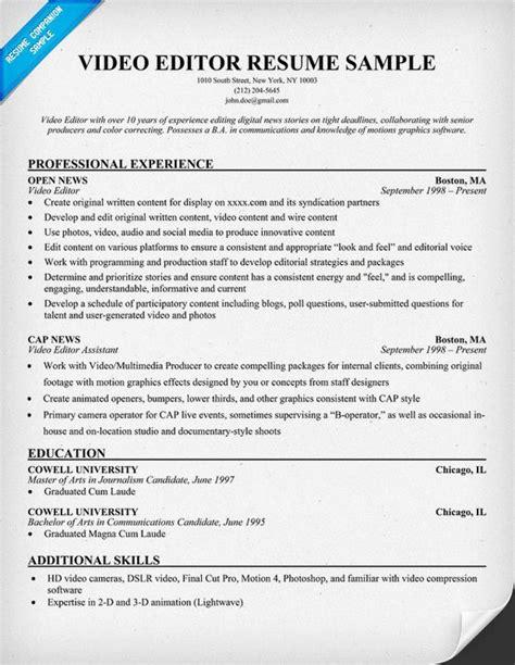 editor resume template free editor resume exle resumecompanion