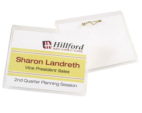 Pin Name Badge Easy To Load Pocket Style Micro Perforated Smooth Edges Soft Durable Plastic 2 25 X 3 5 Name Badge Template