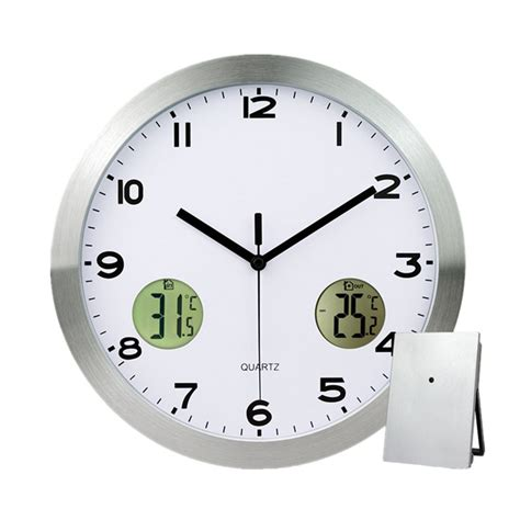 vintage silent wall clock temperature humidity thermometer stainless steel wall clock thermometer with indoor outdoor
