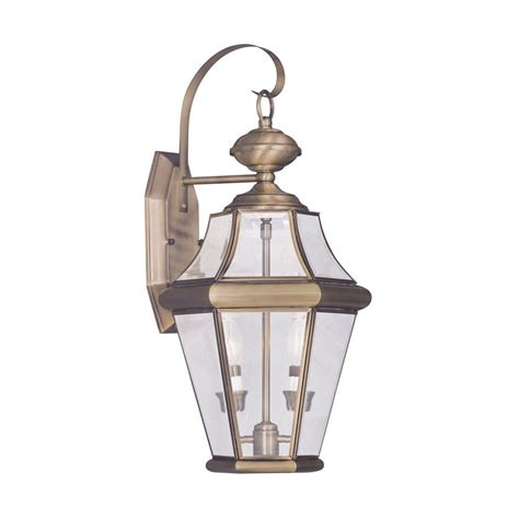 Antique Outdoor Lighting Shop Livex Lighting Georgetown 20 75 In H Antique Brass Outdoor Wall Light At Lowes