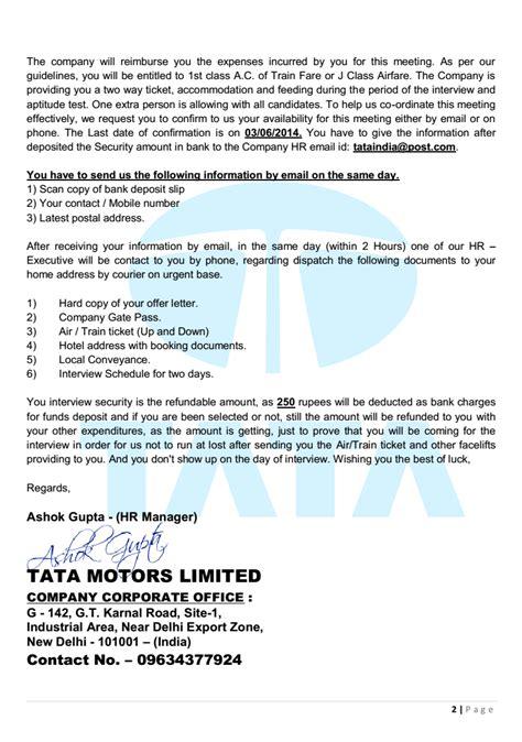 Offer Letter Generator India Tata India Limited Offer Letter Beware Of Offer Letter In Name Of Tata Motors Ltd