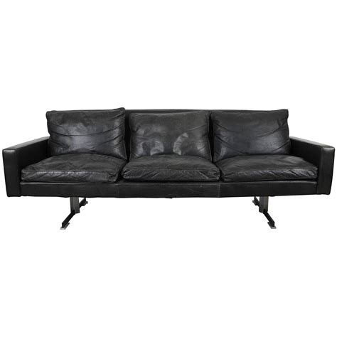 couch legs for sale mid century modern black leather sofa with chrome legs for