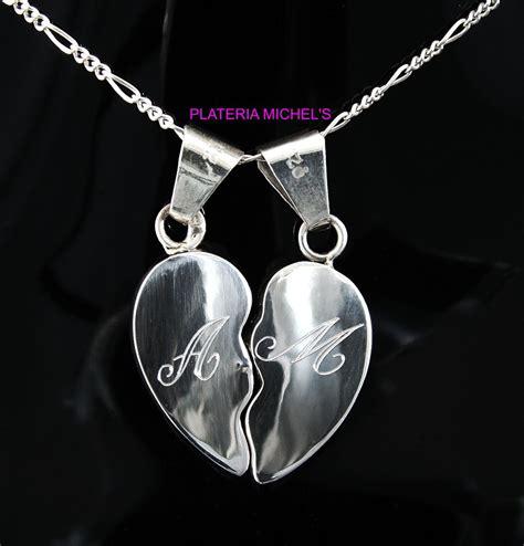 cadenas de plata corazones partidos corazon partido cartoneado chico con iman en plata ley 0