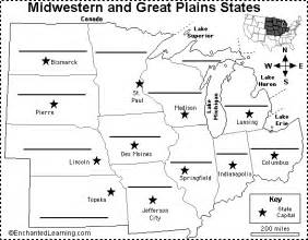 midwest map with capitals label midwestern us states