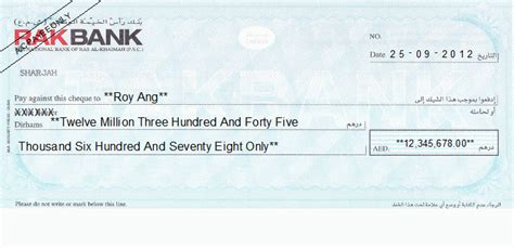 rak bank in dubai cheque writing printing software for united arab emirates