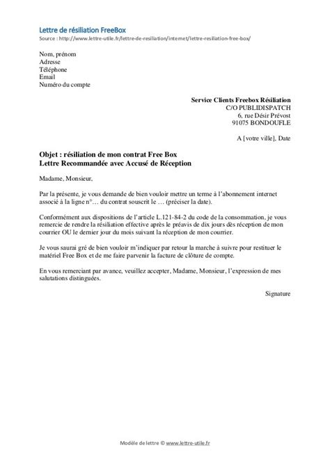 Exemple courrier résiliation lettre ou courrier