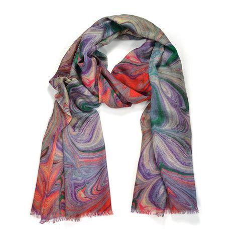 borromeo marble print wool silk scarf by edition de luxe