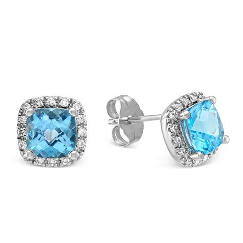 Blue Topaz Checkerboard 14k white gold checkerboard cushion blue topaz and