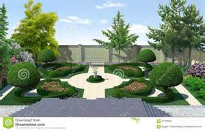home design 3d sur pc landscaping courtyard classic style 3d render stock