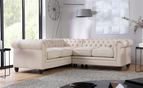 Hton Oatmeal Fabric Chesterfield Corner Sofa Only 163 1099 Corner Chesterfield Sofa