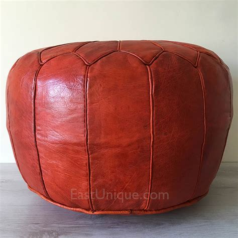 moroccan leather ottoman east unique moroccan leather pouffe pouf burnt orange