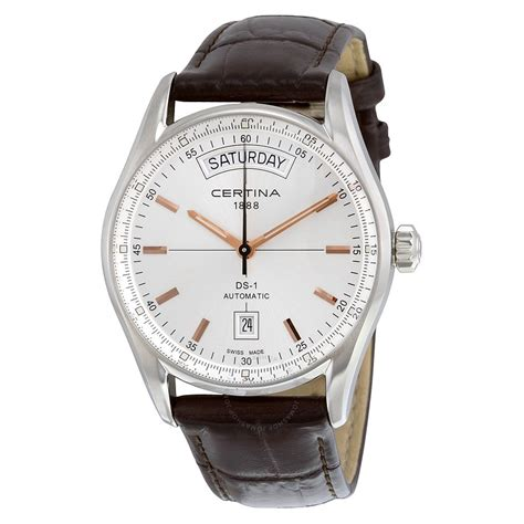 s date certina ds 1 day date automatic silver brown leather