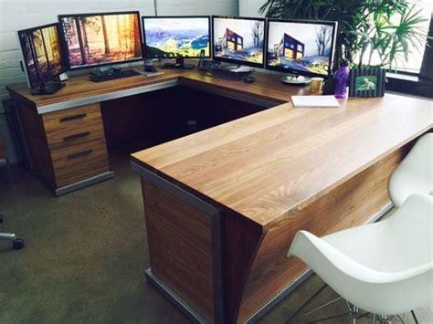 custom steel  walnut contemporary desk workstation