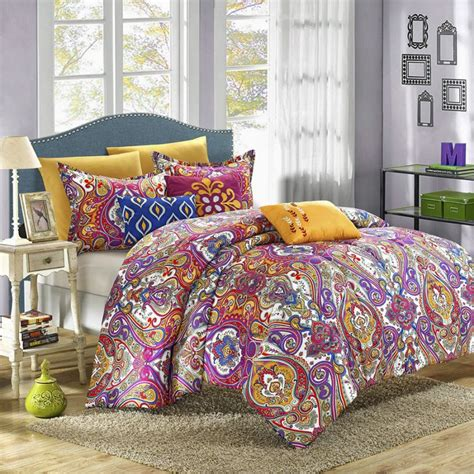 chic home mumbai 8 piece reversible comforter set printed