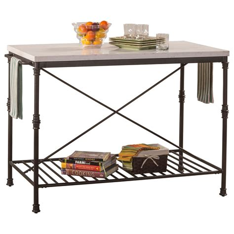 Kitchen Island Metal Hillsdale Accents Metal Kitchen Island With White Marble Top Vandrie Home Furnishings