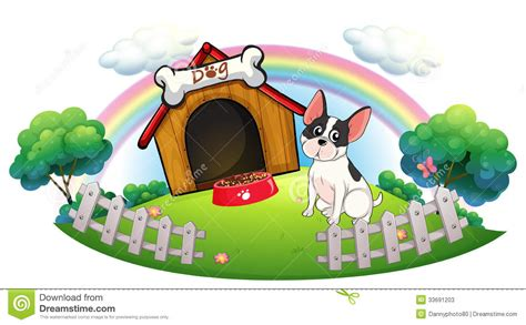 dog fences for inside the house a dog with a dog house and a dog food inside the fence stock photos image 33691203