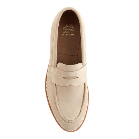 white suede loafers lyst j crew kenton suede loafers with white soles