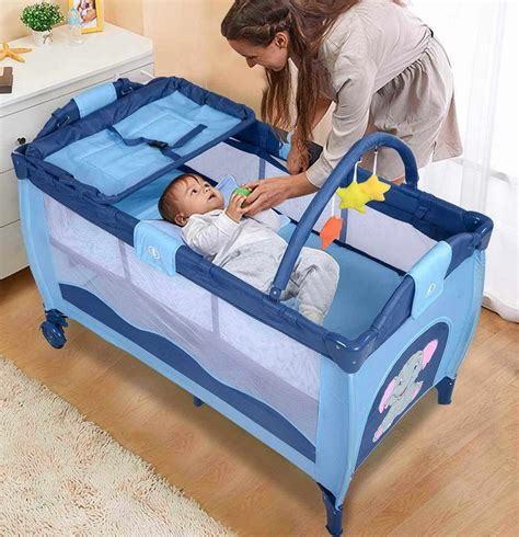 Baby Infant Playpen Baby Bassinet Foldable Travel 2 In 1 2 In 1 Crib Mattress